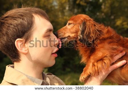 dachshund licks man in nose - stock photo