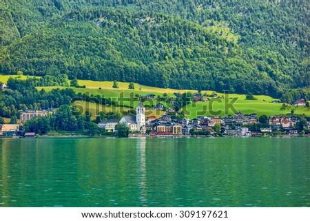 Dachstein mountains, in the foreground the mountain Taubenkogel and the Higher Gjaidstein - stock photo