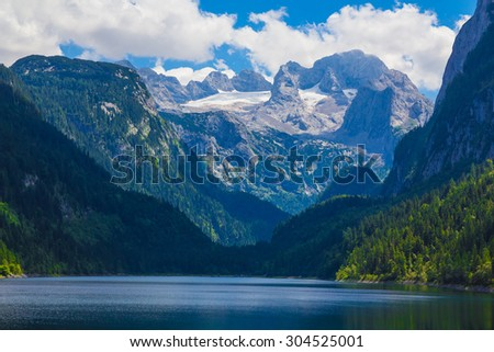 Dachstein with Gosausee lake, Alps, Austria - stock photo