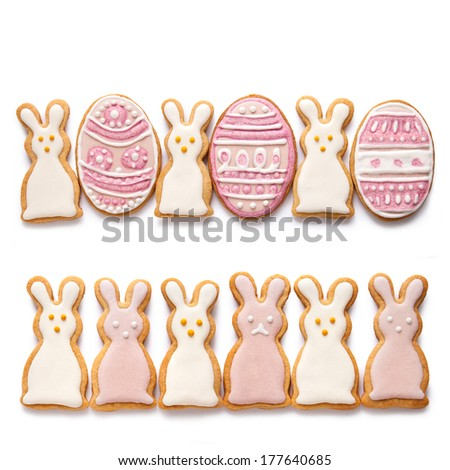Dacorated cookies for easter on the white background - stock photo