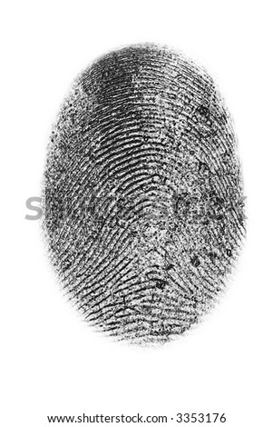 dactyloscopy personal fingerprint isolated on white background - stock photo