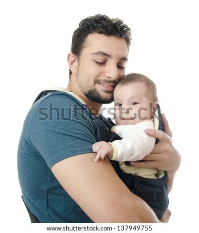 Dad and baby in lovely hug - stock photo