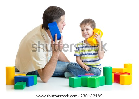 dad and child kid boy role play together isolated on white - stock photo