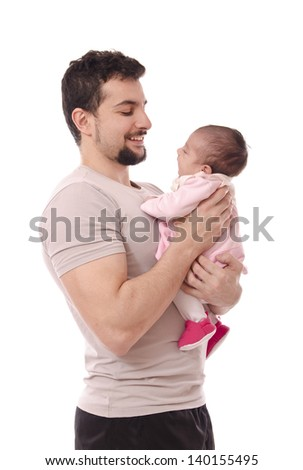 Dad and little girl isolated over white.
