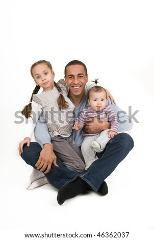Dad and two daughters - stock photo
