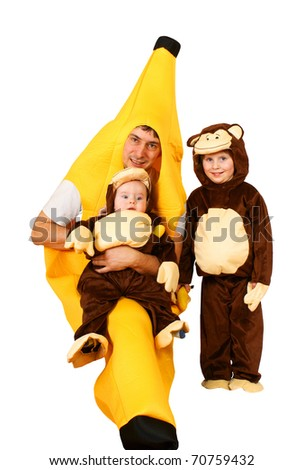 Dad banana with 2 small monkeys, isolated on background - stock photo