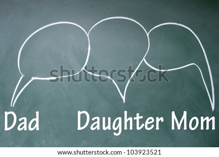 Dad?daughter and mom chat symbol - stock photo