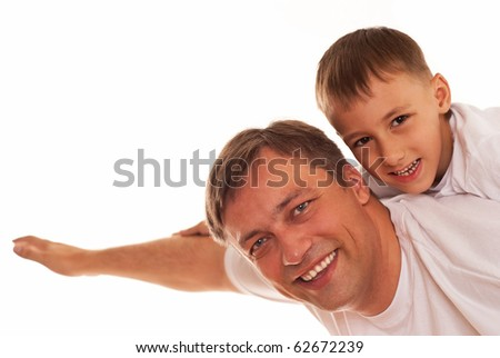 dad playing with his son on a white background