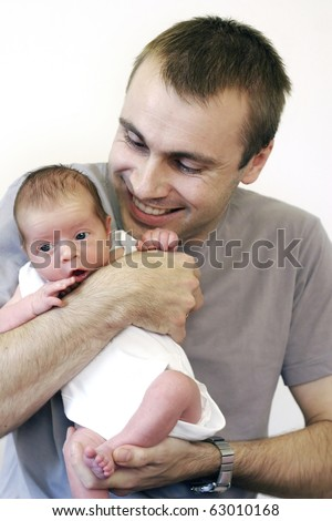 Dad with baby son - stock photo