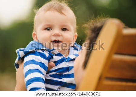 Dad with his son - stock photo