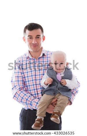 Dad with little son on a white background