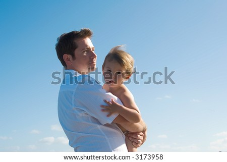 Dad with son - stock photo