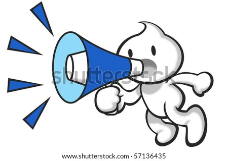 DaDa holding the megaphone shouting. - stock photo