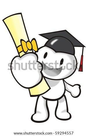 DaDa is a graduate holding a certificate. - stock photo
