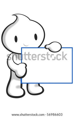DaDa is holding a blank  card. - stock photo