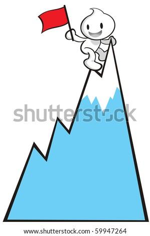 DaDa managed to climb to the peak. - stock photo