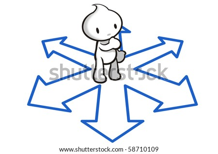 DaDa standing at a crossroad making a decision. - stock photo