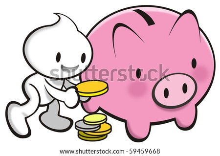 DaDa with a piggy bank to encoverage saving. - stock photo
