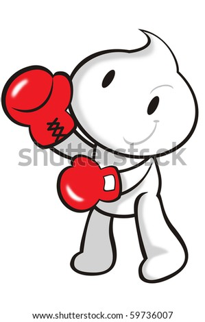 DaDa with red boxing gloves in hands. - stock photo