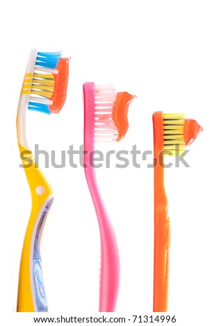 Daddy, Mommy and Kids Tooth Brush - stock photo