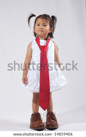 daddy's little business girl - stock photo