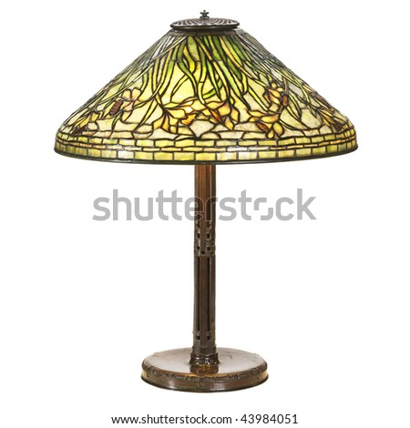 daffodil glass large table lamp - stock photo