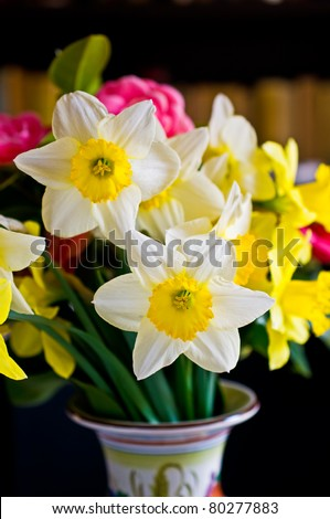 Daffodils in vase with shallow depth of field - stock photo