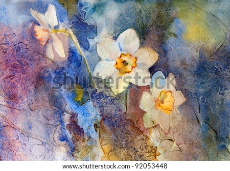Daffodils on a background. Watercolor. - stock photo