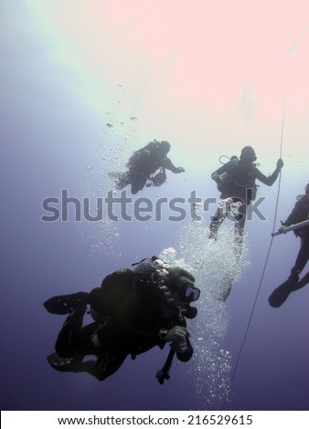 DAHAB, EGYPT - August 22, 2014: Support divers during one of Ahmed Gabr's training dive prior to the deepest scuba dive world record attempt