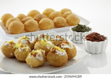 Dahi Batata Puri , Chat food, India - stock photo