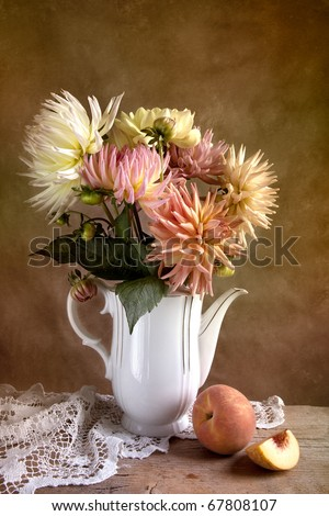 Dahlia Flowers in Vase with Peach fruit