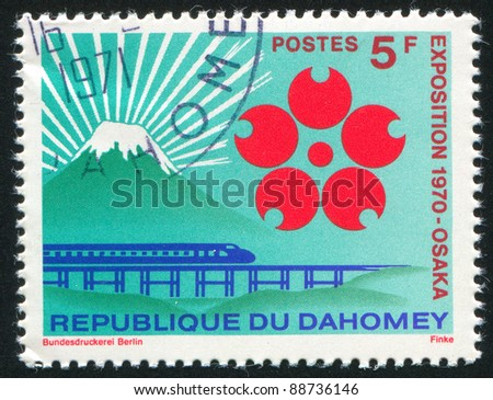 DAHOMEY - CIRCA 1970: A stamp printed by Dahomey, shows Mountain Fuji, EXPOSITION 1970 Emblem, Monorail Train, circa 1970