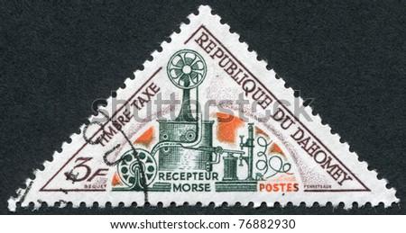 DAHOMEY - CIRCA 1967: Postage stamps printed in Dahomey, depicted Telegraph Morse, circa 1967 - stock photo