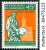 DAHOMEY - CIRCA 1968: stamp printed by Dahomey, shows  Gutenberg Monument, Strasbourg Cathedral, circa 1968. - stock photo