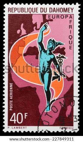 DAHOMEY - CIRCA 1970: stamp printed by Dahomey, shows Mercury, Map of Africa and Europe, circa 1970 - stock photo