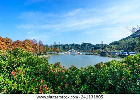 dahu park in taipei,taiwan, focus on foreground - stock photo