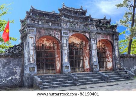 Dai Hong Mon Gate at Minh Mang Tomb - Hue, Vietnam - stock photo