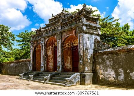 Dai Hong Mon Gate at Minh Mang Tomb - Vietnam - stock photo
