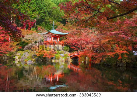 Daigoji temple with autumn foliage leaves in Kyoto, Japan.  Here is very famous during autumn season. - stock photo
