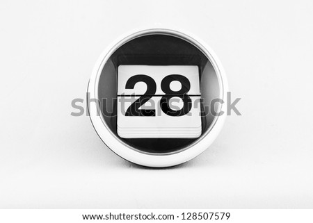 Daily calendar date change on a white background. day 28 - stock photo