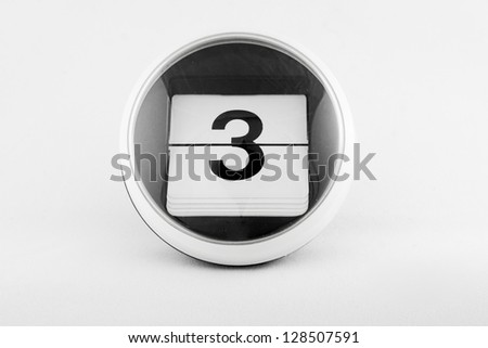 Daily calendar date change on a white background. day 3 - stock photo