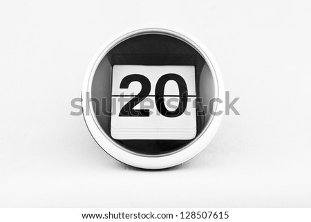 Daily calendar date change on a white background. day 20 - stock photo