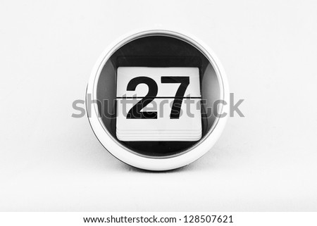 Daily calendar date change on a white background. day 27 - stock photo