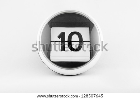 Daily calendar date change on a white background. day 10 - stock photo