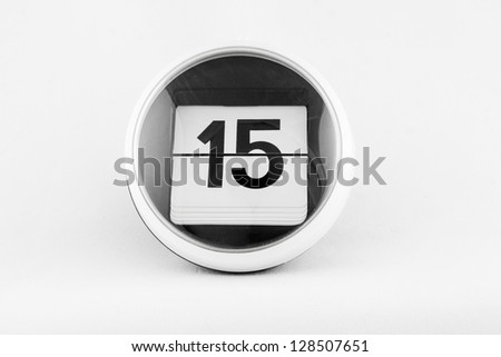 Daily calendar date change on a white background. day 15 - stock photo