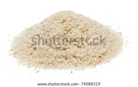 Daily dietary fiber supplement psyllium isolated on white background.