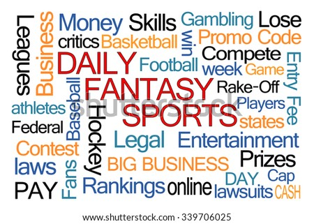 Daily Fantasy Sports Word Cloud on White Background - stock photo