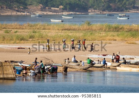Daily Life at Lake Malawi - stock photo