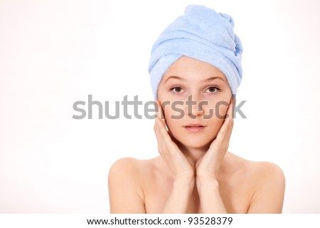 daily morning facial massage with aromatic oils - stock photo