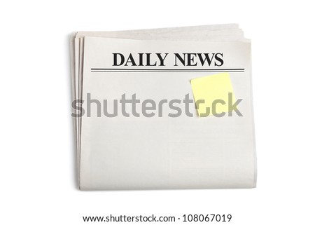 Daily News and Sticky Note, Newspaper with white background - stock photo